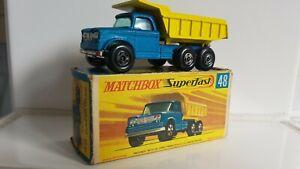 Diecast Matchbox superfast N.48 DODGE DUMPER TRUCK mint in good or. complete box