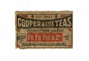 1 Old 1900s matchbox label Cooper & Cos Teas Glasgow, Liverpool size 55x36mm