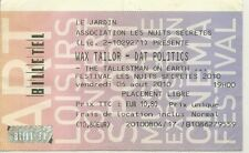 RARE / TICKET CONCERT - WAX TAILOR + DAT POLITICS LIVE A LILLE ( FRANCE ) 2010