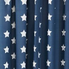 """Navy Blue White Stars Fully Lined Curtains With Tie Backs Boys 66"""" X 54"""""""