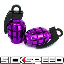 2 PURPLE ANODIZED GRENADE VALVE STEM CAP KIT/SET FOR MOTORCYCLE TIRES M5