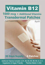 Vitamin B12-1000mcg + Additional Vitamins. Transdermal Patch. Natural. 6 Patches