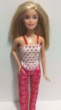 Mattel Barbie Doll Blonde in Pink and Red Pajama Pants and Top EUC 2009