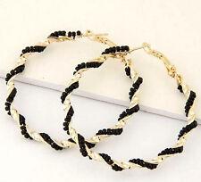 BIG HOOP GOLD PLATED TWIST BLACK PEARL EARRINGS. 50MM