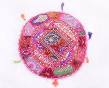 Vintage Pink Round Floor Cushion Cover Pillow Throw Indian Bohemian Decor 17""