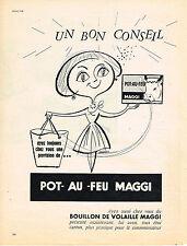 PUBLICITE ADVERTISING  1957   MAGGI   pot au feu bouillon de volaille
