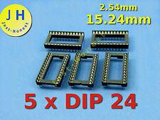 Stk. 5 x DIP 24 15.24mm  Breite / Width IC SOCKEL / SOCKET #A256
