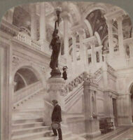 America Thro' Stereoscope. Grand Staircase Library of Congress Washington 1899