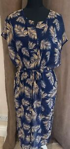 SIZE 8/10 NAVY BLUE & GOLD TROPICAL LEAF BEACH COVERUP DRESS GOOD CONDITION