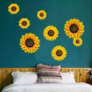 1 Piece Big 3D Sunflower Wall Stickers Mural Art Wall Decal Home Decorations