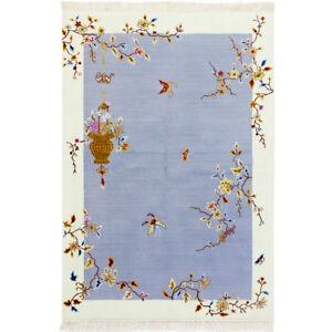 YILONG 4'x6' Blue Handmade Wool Carpet Chinese Art Decor Soft Woollen Area Rug