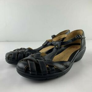 Clarks Unstructured Women 8.5 Black Leather Sandals T Strap Comfort Shoe