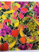 Vtg Hallmark Gift Wrap Fruit Apple Pear Lemon Orange Banana Grape Kitchen Bright