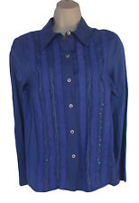 REQUIREMENTS Size M Blue Gauzy Cotton Crinkle Shirt NWT Lace Trim
