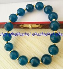 AAA Natural 10mm blue ink Apatite Round Gemstones Gold color Beads Bracelet7.5''