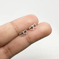 925 Sterling Silver Tiny Double Open Hallow Heart Stud Earrings Love Ear Post