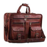 Brown Leather Briefcase Laptop Bag Shoulder Strap Vintage Style Bag