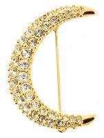 "Vintage Swarovski Gold Tone & Pave Crystal Crescent Moon Pin 1 3/4"" Long"