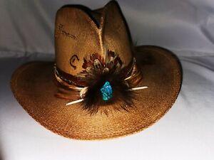 Vintage Charlie 1 Horse Cowboy Hat Custom Straw  Size 7 1/8 USA