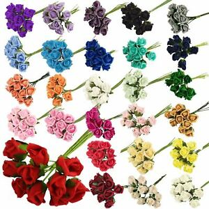 Bunch of 10 Foam Rose Buds - Artificial Wedding Flowers Craft Buttonhole Corsage