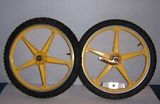 Vintage Yellow Lester Mag Wheels Bmx Bicycle Old School Bike Rim and Tire