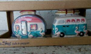 NIB BLUE SKY FLAMINGO BUS AND CAMPER SALT AND PEPPER SHAKER SET