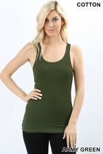 SOFT COTTON  STRETCH RIBBED RACERBACK TANK TOP LONG WORKOUT YOGA  SPORT FITNESS