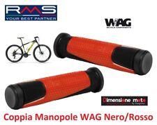 """0243 - Coppia Manopole """"WAG"""" colore Nero/Rosso per Bici 12-14-16-20 City Bike"""
