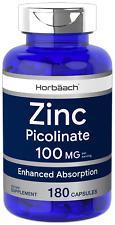 Zinc Picolinate 100mg | 180 Capsules | High Potency, Non-GMO | by Horbaach