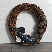 """Grapevine Wreath with Hand Painted Minnesota Loon Decor, Vintage 1990, 6"""" x 6"""""""