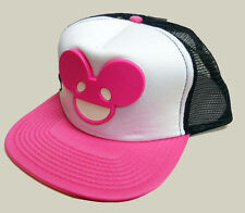 NWT DEADMAU5 Deadmouse 3-D raised LOGO neon pink TRUCKER SNAPBACK HAT CAP