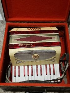 Vintage GALANTI Italy Red Marble Accordion with Original Case 25 Keys 12 Buttons