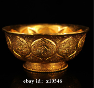 "5"" China Tang Dynasty palace Pure copper Handmade Carved gilt gold bowl"