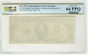 Federal Reserve Note $10 Missing Back Print Error Choice UNC 64 PPQ CO626