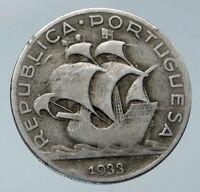 1933 PORTUGAL with PORTUGUESE SAILING SHIP Vintage Silver 5 Escudos Coin i86075