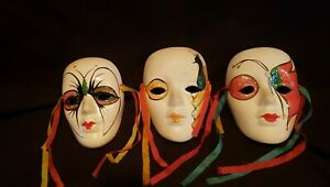 Three Painted Porcelain Wall Mask