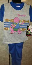 New Vintage 1992 BARNEY DINOSAUR 2 Piece Pajamas The Lyons Group Boys B 4-5