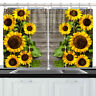 Sunflower Wooden Wall Window Drapes Kitchen Curtains With Metal Hooks 55*39 Inch