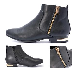 Womens Girls Casual Chelsea Zip Boots Flat Riding Biker Dealer Black Gold Zips