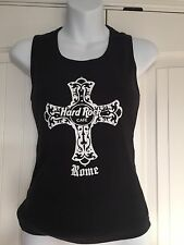 VTG Hard Rock Cafe Rome Italy Women's Large Black Tank Top Decorated Cross Bling