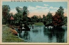 Boat On the Lakes at Gage Park Topeka Kansas KS Postcard B19