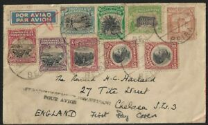 MOZAMBIQUE CO. TO UK COVER w/ CACHET 'insufficient for airmail' 1937