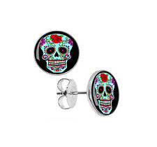 NEW Sugar Skull Earrings - Day Of The Dead Rockabilly Earrings - Surgical Steel