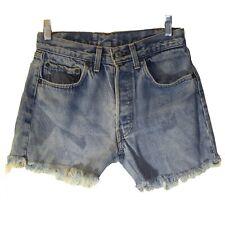 Women's Vintage Levis Denim Ripped Shorts Button Fly, Light Blue Wash, Medium