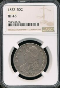1822 Capped Bust Half Dollar NGC XF 45 *Sharp - Nice For The Grade!*