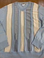 Montechiaro Italy Mens Coogi Style Vintage Blue Ribbed Sweater Medium