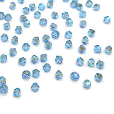 144 Swarovski 5328 Crystal XILION Bicone Bead Jewelry 4mm blue AQUAMARINE AB 2x