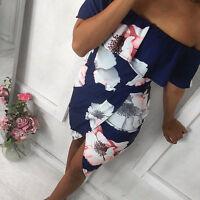 Summer Boho Womens Vintage Floral Long Maxi Dress Holiday Party Sundress UK 6-20
