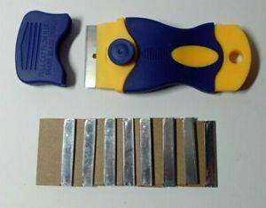 10 x Single Edge Razor Blades Window Scraper Blades with Fixed Scraper Handle