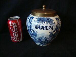 Vintage Delft Blue Holland Amphora Tobacco Jar W/ Brass Lid